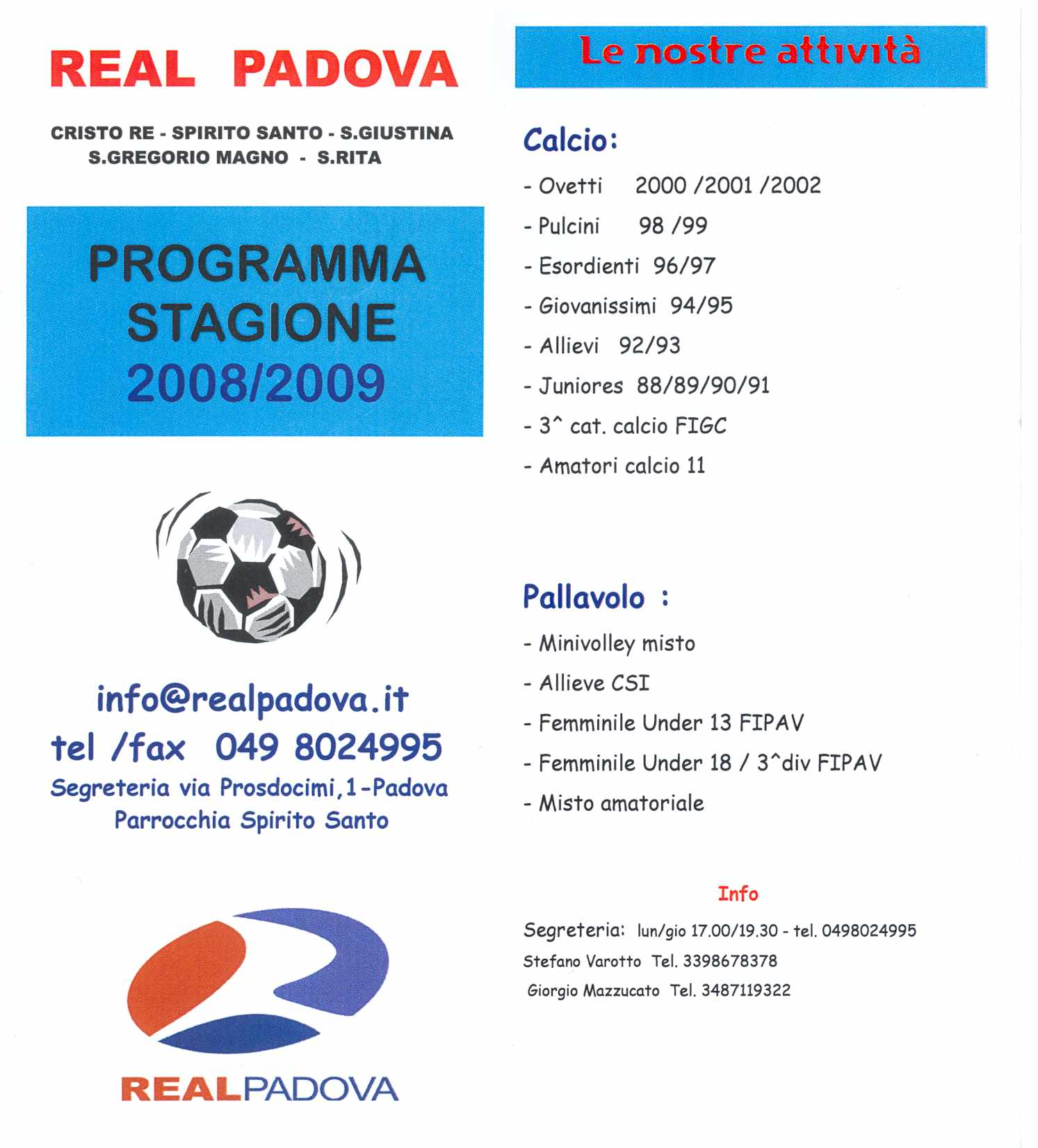 Calendario Calcio Padova.Attivita Sportiva
